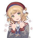 1girl bangs beret blonde_hair braid commentary eyebrows_visible_through_hair french_braid green_eyes grey_shirt hair_pom_pom hair_rings hat head_tilt long_sleeves looking_at_viewer medium_hair nagu open_hands open_mouth pom_pom_(clothes) red_sailor_collar sailor_collar shigure_ui_(channel) shigure_ui_(vtuber) shirt simple_background smile solo striped striped_shirt upper_body white_background