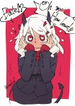 1girl black_horns black_miniskirt black_suit black_tail blush breasts business_suit demon_girl demon_horns demon_tail english_text flying_sweatdrops formal heart heart-shaped_pupils helltaker highres horns long_sleeves looking_at_viewer modeus_(helltaker) red_eyes red_sweater shirt short_hair skirt sleeves_past_wrists solo speech_bubble suit sumaki_shungo sweater symbol-shaped_pupils tail turtleneck white_hair