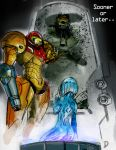 1boy 2girls butt_crack cortana crossover cryogenic_pod dandy halo_(game) looking_down master_chief metroid multiple_girls pointing power_armor samus_aran spartan_(halo) visor