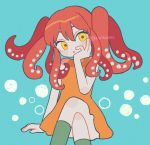 1girl :o arm_support bare_arms blue_background crossed_legs dress green_legwear hand_on_own_cheek invisible_chair kneehighs nokanok orange_dress original redhead sitting sleeveless sleeveless_dress solo tentacle_hair twitter_username yellow_eyes
