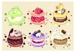 artist_name bear beige_background bird blue_berry border chai chocolate commentary_request cream food fruit hat highres macaron melon no_humans original penguin raspberry scarf simple_background sitting_on_food