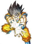 1boy absurdres annoyed attack black_eyes black_hair blue_footwear boots commentary cupping_hands dougi dragon_ball dragon_ball_z fighting_stance fingernails floating floating_hair frown full_body hands highres incoming_attack kamehameha legs_apart light looking_at_viewer male_focus messy_hair motion_blur muscle official_art open_mouth outstretched_arms screaming shaded_face simple_background son_gokuu speed_lines spiky_hair teeth toriyama_akira white_background wristband