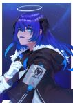 1girl :p absurdres arknights bangs black_jacket blue_eyes blue_hair blue_tongue border candy chinese_commentary commentary_request eyebrows_visible_through_hair food fur-trimmed_jacket fur_trim gloves hair_between_eyes halo hand_up highres holding holding_food horns jacket lollipop long_hair long_sleeves looking_at_viewer mostima_(arknights) night night_sky outdoors outside_border sky smile solo tongue tongue_out upper_body white_border white_gloves youtuanzi