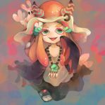 1girl :d antennae aqua_eyes black_skirt ebii_(splatoon) eyelashes facial_mark flower gradient_hair grey_shirt hair_flower hair_ornament hand_up iriko_(requina) jewelry lips long_hair long_sleeves looking_at_viewer miura_(splatoon) multicolored_hair necklace no_nose open_mouth orange_hair piercing pink_hair pink_lips sandals shawl shirt shrimp skirt sleeves_past_fingers sleeves_past_wrists smile splatoon_(series) splatoon_2 two-tone_hair white_flower wide_sleeves