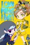 2girls backpack bag black_eyes black_serafuku cardigan cellphone ensign_(i_can_friday_by_day!) girl_a_(i_can_friday_by_day!) girl_b_(i_can_friday_by_day!) green_backpack i_can_friday_by_day! japan_animator_expo logo looking_at_viewer multiple_girls phone quad_tails rabbit ribbon school_uniform serafuku sergeant_(i_can_friday_by_day!) signaller_(i_can_friday_by_day!) simple_background smartphone smile squirrel take_(illustrator) yellow_background yellow_eyes yellow_ribbon