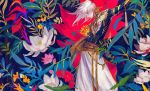 1boy alternate_costume alternate_hairstyle arm_up artist_name bangs closed_eyes closed_mouth earrings egawa_akira eyebrows_visible_through_hair fate/apocrypha fate/grand_order fate_(series) floral_background flower gem hair_between_eyes highres indian_clothes jewelry karna_(fate) long_hair long_sleeves single_earring solo upper_body