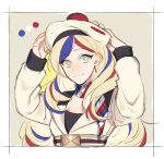 1girl bangs beige_dress belt belt_buckle beret blonde_hair blue_hair buckle commandant_teste_(kantai_collection) double-breasted hat highres jacket kantai_collection long_hair looking_at_viewer multicolored multicolored_clothes multicolored_hair multicolored_scarf pom_pom_(clothes) redhead scarf smile solo streaked_hair su_konbu swept_bangs wavy_hair white_hair