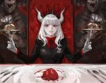 1girl 2others bangs breasts chair crown fork formal grin heart_(organ) helltaker highres holding horns knife long_hair looking_at_viewer lucifer_(helltaker) mole mole_under_eye multiple_others necktie osakana_(denpa_yun'yun) plate red_eyes smile spoon suit white_background