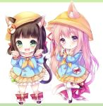 2girls animal_ear_fluff animal_ears azur_lane bell black_footwear blue_shirt brown_hair cat_ears chibi fang full_body green_eyes hat jingle_bell kabocha_usagi kindergarten_uniform kneehighs long_hair low_twintails mary_janes multiple_girls open_mouth pink_eyes pink_hair ribbon school_hat shirt shoes short_hair short_twintails side_ponytail skirt smile standing standing_on_one_leg tail tail_ornament tail_ribbon thigh-highs twintails white_legwear yellow_headwear yellow_skirt