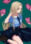 1girl blonde_hair blue_legwear boots breasts brown_eyes flower green_background highres long_hair original simple_background sitting socks solo wariza window1228