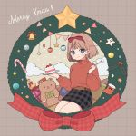 1girl :3 bell belt blue_eyes box bright_pupils brown_hair cake checkered checkered_background christmas christmas_ornaments christmas_wreath clouds food fork fruit gift gift_box hair_ribbon highres holding holding_food holding_fork long_sleeves looking_at_viewer merry_christmas nokanok original pencil_skirt plaid plaid_skirt red_ribbon red_sweater ribbon short_hair sitting skirt solo star strawberry stuffed_animal stuffed_toy sweater teddy_bear twitter_username white_pupils