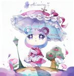 1girl bear character_name cherry coco7 doubutsu_no_mori dress flower food fruit judy lamppost solo sparkling_eyes tree umbrella