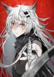 1girl animal_ears arknights black_nails closed_mouth fingernails foreshortening from_side hair_ornament hairclip holding holding_sword holding_weapon lappland_(arknights) looking_at_viewer nello_(luminous_darkness) red_background solo sword weapon white_hair wide-eyed yellow_eyes