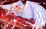 1girl absurdres angel_wings bare_legs blonde_hair bow character_request eyebrows_visible_through_hair feathered_wings hair_bow highres leg_up lightning long_hair muzent night night_sky outstretched_arm outstretched_hand pointy_ears red_background red_eyes red_skirt skirt sky solo standing standing_on_one_leg star_(sky) touhou white_wings wings