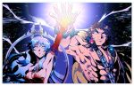 1boy 1girl abs arms_up artemis_(fate/grand_order) bangs bara bare_shoulders blue_eyes breasts brown_hair chest dress fate/grand_order fate_(series) gloves glowing glowing_eyes gradient_hair jewelry large_breasts long_hair long_sleeves looking_at_viewer manly moon multicolored_hair muscle night27260 open_clothes orion_(fate/grand_order) orion_(super_archer)_(fate) pectorals pose shirtless sparkle thick_eyebrows upper_body white_hair