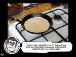 1boy black_hair food helltaker helltaker_(character) kitchen pancake skillet speech_bubble spoilers sunglasses vanripper white_skin
