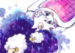 1girl absurdres artist_name blanket blue_eyes dated face fingers highres looking_at_viewer looking_up lying on_back original pillow sheep sky sleeping_bag space star star_(sky) starry_sky white_hair zukky000