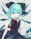 1girl aqua_hair bangs black_bow blue_dress blue_eyes bow bowtie cirno closed_mouth collar collared_dress dress fairy grey_background hair_bow highres ice ice_wings looking_at_viewer red_bow red_neckwear short_hair short_sleeves simple_background solo standing touhou tsukikusa wings