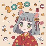 1girl 2020 :3 animal_ears bangs bell bright_pupils cheese chinese_zodiac closed_mouth food green_eyes grey_hair hair_bell hair_ornament highres japanese_clothes jingle_bell kimono mouse_ears nokanok original short_hair solo star twitter_username upper_body whisker_markings white_pupils year_of_the_rat