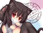 1girl animal_ears animal_hat bangs black_hair blush breasts cat_ears cat_tail eyebrows_visible_through_hair hat large_breasts long_hair looking_at_viewer mask mia_flatpaddy mouth_mask original red_eyes shoulder_cutout slit_pupils syroh tail