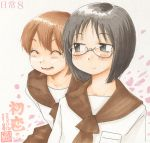 2girls aioi_yuuko alternate_hair_length alternate_hairstyle aoneco bangs bent_over black_eyes black_hair blush bob_cut brown_hair brown_sailor_collar cherry_blossoms closed_eyes commentary copyright_name dated expressionless glasses hair_between_eyes long_sleeves looking_at_another marker_(medium) millipen_(medium) minakami_mai multiple_girls nichijou open_mouth pocket rimless_eyewear sailor_collar school_uniform serafuku shirt short_hair signature smile traditional_media translated upper_body white_background white_shirt