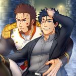 2boys alternate_costume alternate_hairstyle anger_vein angry bara beard belt black_hair black_suit blood blood_on_face blue_eyes boots brown_hair chest closed_mouth collar epaulettes eyebrows_visible_through_hair facial_hair fate/grand_order fate_(series) fringe_trim fujimaru_ritsuka_(male) goatee hair_between_eyes hand_in_hair hand_on_another's_waist highres jacket lamppost long_sleeves looking_to_the_side male_focus military military_uniform multiple_boys napoleon_bonaparte_(fate/grand_order) necktie one_eye_closed open_clothes open_jacket pants sideburns smile suzuki80 sweatdrop tied_hair tight uniform upper_body wall white_pants