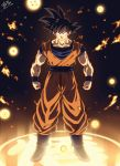 1boy arms_at_sides black_eyes black_hair blue_footwear boots clenched_hands commentary_request dark_background darkness dougi dragon_ball dragon_ball_(object) dragon_ball_z full_body glowing grin highres legs_apart lens_flare light light_particles light_rays looking_at_viewer male_focus orange_theme pectorals shaded_face signature smile son_gokuu spiky_hair standing tasaka_shinnosuke wristband