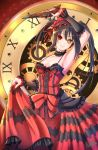 1girl alpaca_(alpaca00011) arm_up armpits asymmetrical_hair bare_shoulders black_hair breasts clock_eyes date_a_live detached_sleeves dress frilled_dress frills gothic_lolita gun hair_between_eyes hairband handgun heterochromia highres holding holding_gun holding_weapon lolita_fashion lolita_hairband medium_breasts pistol red_eyes roman_numerals skirt_hold smile solo striped symbol-shaped_pupils tokisaki_kurumi twintails two-tone_dress vertical_stripes weapon yellow_eyes