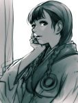 1girl asano_rin bangs blade_of_the_immortal braid breasts chin_rest greyscale hair_ornament hankuri japanese_clothes kimono long_hair looking_at_viewer medium_breasts monochrome parted_lips solo twin_braids upper_body
