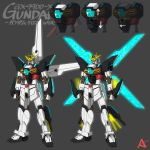 after_war_gundam_x beam_rifle blue_eyes clenched_hand energy_gun glowing glowing_wings grey_background gundam gundam_double_x highres kevinayama mecha mechanical_wings multiple_views no_humans redesign solo v-fin weapon wings