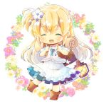 1girl ^_^ backpack bag bangs blonde_hair blue_flower blush boots brown_footwear chibi closed_eyes commission dress eyebrows_visible_through_hair facing_viewer floral_background flower full_body hair_between_eyes hair_flower hair_ornament holding_strap jacket kouu_hiyoyo lantern long_hair one_side_up original parted_lips pink_flower puffy_short_sleeves puffy_sleeves red_flower short_sleeves simple_background solo very_long_hair white_background white_dress white_flower white_jacket