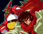 1boy black_hair blue_eyes clenched_hand clenched_teeth getter-1 getter_robo glowing glowing_eyes highres long_hair looking_ahead mecha nagare_ryoma potiri02 red_scarf scarf shin_getter_robo super_robot teeth yellow_eyes