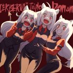 3girls :d animal_ears black_gloves black_legwear black_neckwear black_pants black_suit black_tail black_vest breasts cerberus_(helltaker) collared_shirt demon_girl demon_tail dog_ears dog_girl eyebrows_visible_through_hair formal gloves helltaker highres long_hair looking_at_viewer matching_outfit medium_breasts monster_girl multiple_girls necktie neckwear open_mouth pants red_eyes red_shirt rubyling92 shirt siblings silver_hair simple_background sisters small_breasts smile standing suit tail triplets very_long_hair vest