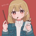 1girl bangs blonde_hair blue_jacket bright_pupils brown_eyes eyebrows_visible_through_hair food food_in_mouth highres holding holding_food jacket long_sleeves looking_at_viewer medium_hair nokanok open_clothes open_jacket original pocky pocky_day red_background simple_background solo sweater upper_body white_pupils white_sweater