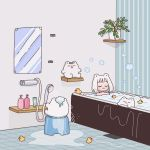 1girl :3 animal_ears bangs bath bathing bathroom bear bear_ears bob_cut bubble bubble_bath highres indoors mirror nokanok original plant potted_plant rubber_duck short_hair showering u_u water white_hair