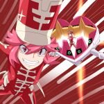 1girl bodysuit breasts hat jakuzure_nonon kill_la_kill pink_eyes pink_hair ribonzu shako_cap solo symphony_regalia