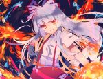 1girl bangs blunt_bangs bow breasts eyebrows_visible_through_hair fire floating_hair fujiwara_no_mokou grin hair_bow hime_cut long_hair looking_at_viewer multicolored_bow ofuda pants paper parted_lips red_pants shirt short_sleeves sidelocks small_breasts smile solo standing suspenders teeth torn_clothes torn_sleeves touhou tsukikusa white_shirt wind
