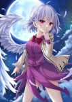 1girl absurdres beige_jacket braid breasts cowboy_shot dress feathered_wings feathers full_moon hair_between_eyes hand_to_own_mouth hand_up highres jacket kishin_sagume legs_apart looking_at_viewer medium_breasts medium_hair miy@ moon night night_sky open_clothes open_jacket outdoors purple_dress red_eyes redhead short_hair silver_hair single_wing sky solo star_(sky) staring starry_sky touhou white_wings wings