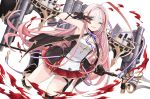 1girl ahoge armored_boots azur_lane bare_shoulders boots breasts dress fangs french_flag gloves highres holding holding_scepter holding_weapon huge_ahoge long_hair looking_at_viewer machinery marble_(marblesized) miniskirt neck_ribbon one_eye_closed partly_fingerless_gloves pink_hair pleated_skirt red_eyes red_skirt ribbon skirt sleeveless sleeveless_dress small_breasts smile solo thigh_strap thighs torpedo_tubes turret v vauquelin_(azur_lane) very_long_hair weapon
