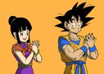 1boy 1girl :d bangs bare_arms bare_shoulders black_eyes black_hair black_outline blunt_bangs bracelet chi-chi_(dragon_ball) china_dress chinese_clothes closed_mouth clothes_writing collarbone commentary_request dancing dark_skin dark_skinned_male dougi dragon_ball dragon_ball_z dress expressionless eyelashes fingernails hair_bun hands_up happy highres jewelry koi_dance lee_(dragon_garou) looking_at_another looking_to_the_side muscle neckerchief open_mouth orange_background orange_neckwear outline own_hands_together purple_dress shaded_face side-by-side sidelocks simple_background sleeveless sleeveless_dress smile son_gokuu spiky_hair standing upper_body wristband