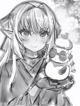 1girl bow closed_mouth dark_elf elf eyebrows_visible_through_hair gloves greyscale hair_bow hair_intakes highres hololive japanese_clothes kimono long_hair looking_at_viewer monochrome nanashi_(nlo74593630) pointy_ears shiranui_flare smile solo upper_body