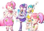 4girls :p arm_up azit_(down) blue_eyes butterfly_wings copyright_request dress hair_ornament hair_ribbon hand_on_own_face highres looking_at_viewer multiple_girls one_eye_closed open_mouth pink_dress pink_hair pointing pointing_at_self purple_hair red_eyes ribbon shirt sleeveless sleeveless_shirt tongue tongue_out wings
