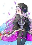 1girl beret book book_on_lap boots bow bug butterfly capelet dress fate/extra fate/grand_order fate_(series) flower hat highres insect long_hair looking_to_the_side mushroom nursery_rhyme_(fate/extra) open_book sitting very_long_hair
