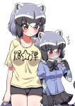 2girls alternate_costume animal_ears black_neckwear blue_hair blue_skirt blue_sweater blush bow bowtie brown_eyes commentary_request common_raccoon_(kemono_friends) cowboy_shot eyebrows_visible_through_hair flying_sweatdrops fur_collar grey_hair height_difference highres kemono_friends multicolored_hair multiple_girls multiple_persona ngetyan nose_blush patchwork_skin pleated_skirt puffy_short_sleeves puffy_sleeves raccoon_ears raccoon_girl raccoon_tail red_eyes shirt short_hair short_shorts short_sleeves shorts skirt sweatdrop sweater t-shirt tail translation_request white_hair yellow_shirt zombie