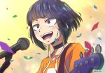 1girl :d bangs blue_hair blush boku_no_hero_academia choker confetti english_commentary guitar hair_intakes happy holding holding_instrument instrument jirou_kyouka kukie-nyan microphone music open_mouth orange_shirt shirt short_hair shoulder_strap sidelocks singing smile solo sweat teeth upper_body