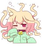 1girl animal_ear_fluff animal_ears bangs bell bell_collar blonde_hair blush brown_collar collar collared_shirt commentary_request cropped_torso eyebrows_visible_through_hair fox_ears gorgon green_pajamas green_shirt hand_up jingle_bell kemomimi-chan_(naga_u) long_hair long_sleeves looking_at_viewer naga_u one_eye_closed original pajamas red_eyes shirt sleepy sleeves_past_fingers sleeves_past_wrists solo upper_body waking_up