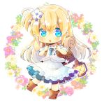 1girl backpack bag bangs blonde_hair blue_eyes blue_flower blush boots brown_footwear chibi commentary_request commission dress eyebrows_visible_through_hair floral_background flower full_body hair_between_eyes hair_flower hair_ornament holding_strap jacket kouu_hiyoyo lantern long_hair looking_at_viewer one_side_up original parted_lips pink_flower puffy_short_sleeves puffy_sleeves red_flower short_sleeves simple_background solo very_long_hair white_background white_dress white_flower white_jacket
