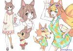 2girls animal animal_ears basket deer deer_ears deer_girl doremi_(doubutsu_no_mori) doubutsu_no_mori dress eyelashes eyewear_on_head green_eyes halter_dress mary_janes monika_(doubutsu_no_mori) multicolored_hair multiple_girls orange_fur personification pineapple_print shoes shuri_(84k) sunglasses tail wolf wolf_ears wolf_girl wolf_tail