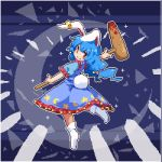 1girl ambiguous_red_liquid animal_ears blue_background blue_dress blue_hair bunny_tail commentary_request crescent crescent_print dress floating frills from_behind full_body holding kine kumamoto_(bbtonhk2) long_hair looking_at_viewer looking_back low_twintails lowres pixel_art rabbit_ears red_eyes seiran_(touhou) short_sleeves smile socks solo sparkle star star_print tail touhou twintails white_legwear