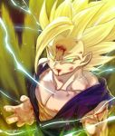 1boy abs aura battle_damage bleeding blonde_hair blood blood_from_mouth child dougi dragon_ball dragon_ball_z electricity expressionless frown green_eyes highres injury male_focus saiyan serious short_hair son_gohan spiky_hair super_saiyan super_saiyan_2 tarutobi wristband